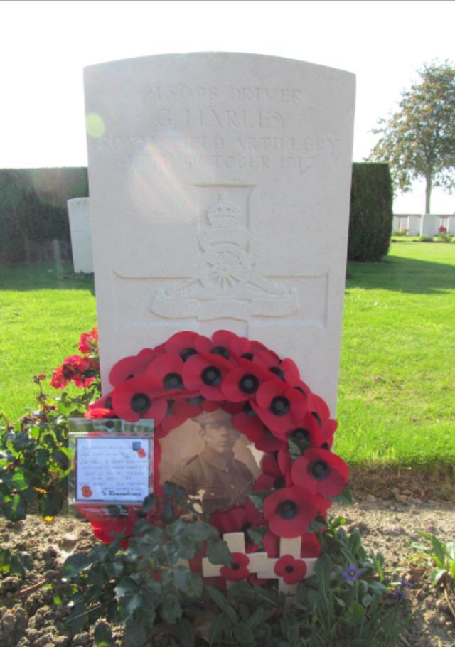 George Henry Harley, gesneuveld op 15 oktober 1917. Begraven op de Huts Cementry nabij Ieper, België